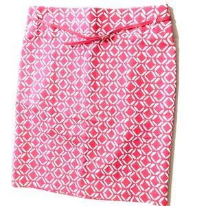NEW Liz Claiborne Pink & White Diamond Priny Skirt